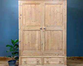 Vintage Pine Double Wardrobe/ Bedroom Cupboard / Rustic Pine Drawers / Storage
