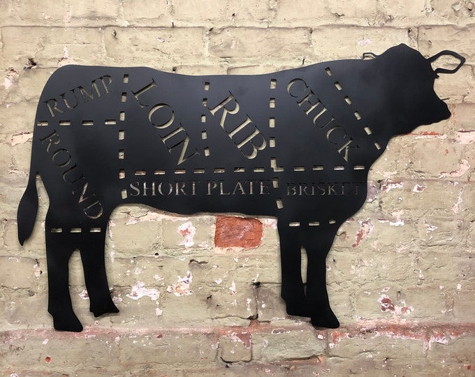 Large BLACK COW Sign Metal Shop Home Ornament Farmyard Butchers Animal cuts Beef BBQ rustic