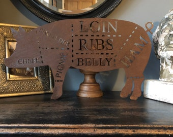 Rusty metal PIG Sign , kitchen sign , Home bar , bbq area  , bbq sign , garden bar sign , bbq accessories , bbq tools , bbq gifts ,