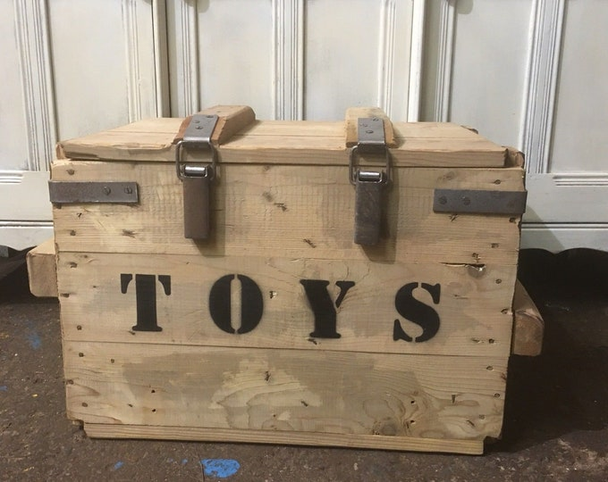 Vintage Reclaimed Pine Upcycled Reclaimed TOY Trunk Chest Box Storage