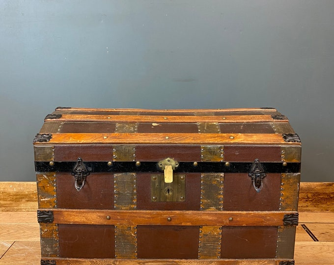 Antique Dome Top Trunk / Leather Bound Chest / Storage Box / Steamer / Bentwood