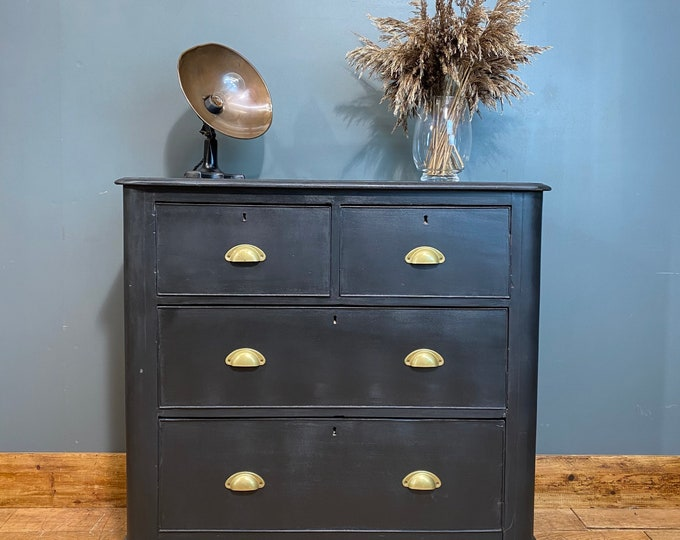 Vintage pine Chest Of Drawers / Shabby Chic/ Rustic Chest Of Drawers / Black
