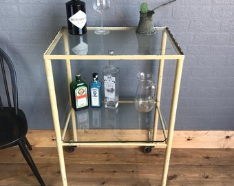 Retro Drinks Tea Trolley Sideboard Vintage Cocktails Retro Glass Metal Display