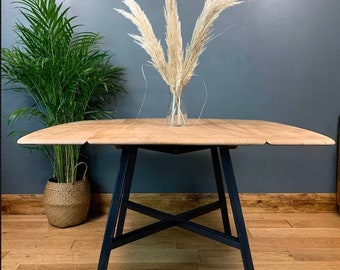 Vintage Retro Mid Century Dining KITCHEN Table RUSTIC Ercol Drop Leaf Navy Elm