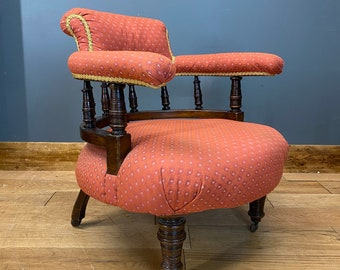 Antique Tub Chair  / Victorian Armchair / Mahogany / Fireside Chair / Library