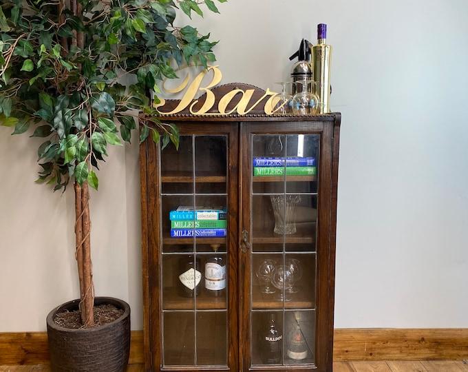 Antique Glazed Oak Bookcase / Display Cupboard / Gin Cupboard /Curiosity Cabinet