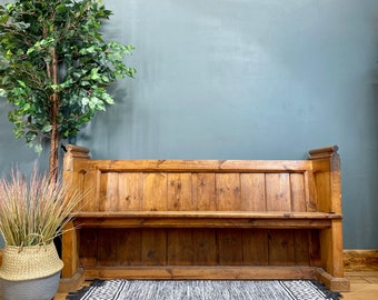 Antique Pitch Pine Church Pew /Monks Bench /Pine Settle/Hallway Bench /Boot Room