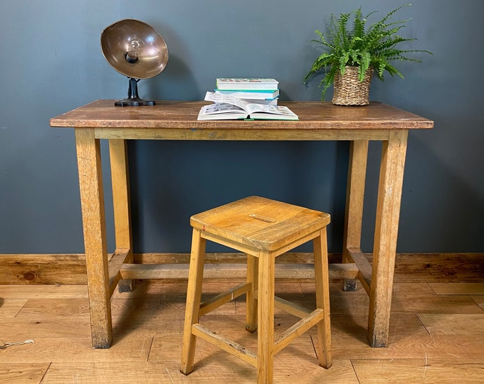 Vintage Desk & Stool / Old School Science Bench Desk / Kitchen Island  /Office E
