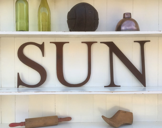 SUN Rusty metal letters, home sign , house name , garden sign , metal lettering , rustic letters , vintage signs , shop sign , shop display