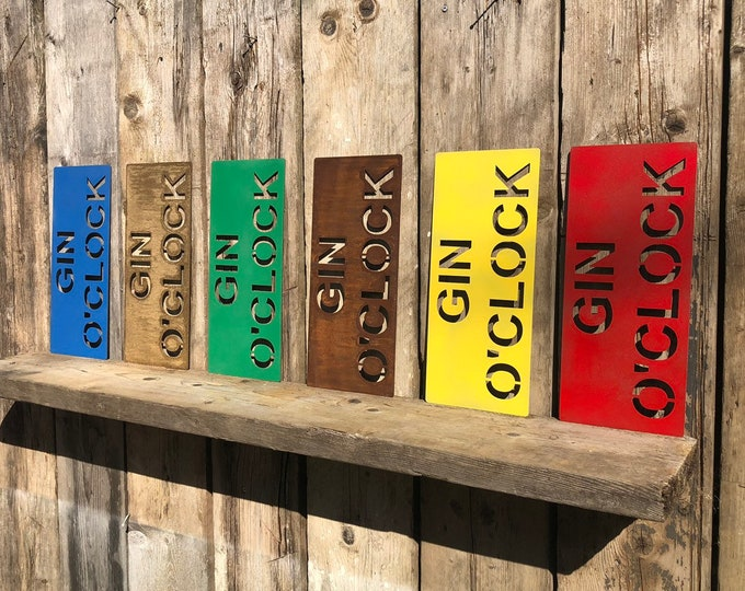 RUSTIC colourful GIN O CLOCK Sign Metal Home Bar Cocktails Plaque Mancave drinks