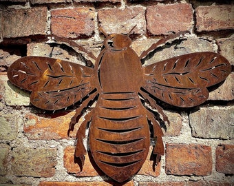 Large Rusty metal BEE BUMBLEBEE ,  Home Sign , bee Garden Ornament , bee Wall feature , Animal decoration, rusted metal bee fence sign ,