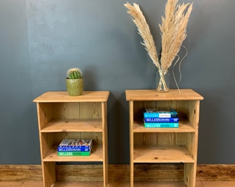 Pair Of Old Pine Bedside Units/ Pine Bookcases / Rustic Shelving / Bedroom Table
