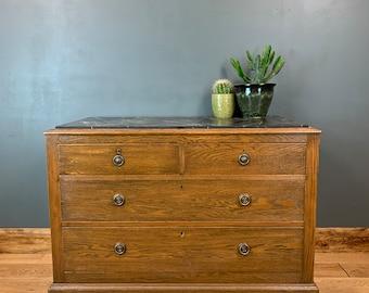 Vintage oak Rustic Storage Distressed Sideboard Chest Of Drawers Marble Effect