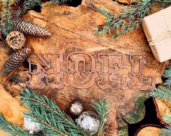 Rustic Rusty Carnival NOEL mantle CHRISTMAS Lettering Metal Nordic decoration