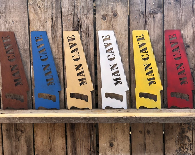 RUSTIC colourful MANCAVE SAW Sign Metal Man Cave shed workshop garage hut office Vintage