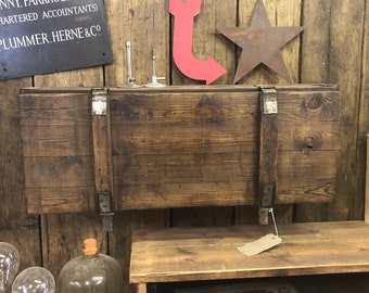 Vintage wooden Trunk Chest Rustic Industrial upcycled Cupboard Bedroom Kitchen