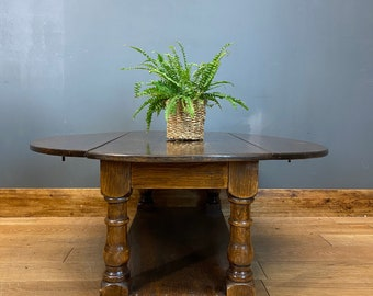 Vintage Oak Coffee Table / Drop Leaf Table / Rustic Sideboard/ Lounge Table