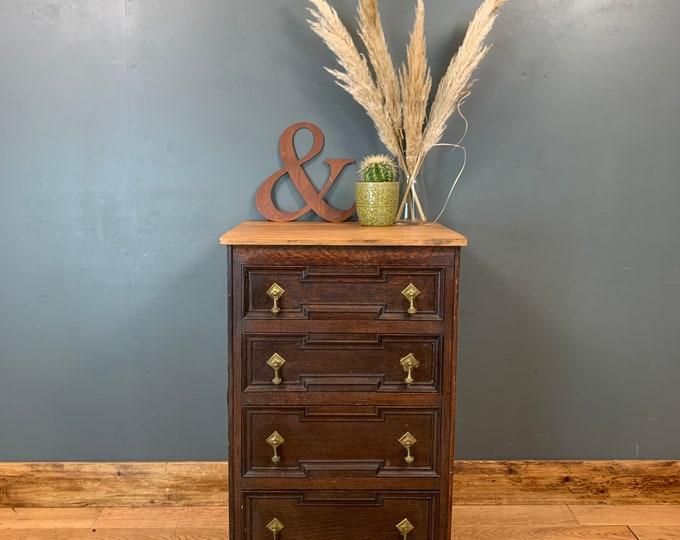 Antique Slim Storage Sideboard Chest Of Drawers Bedroom Mahogany & Oak Rustic