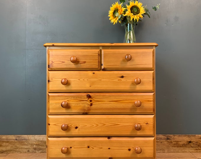 Pine Chest Of Drawers / Tall Drawers / Rustic Drawers / Bedroom Storage / F