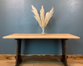 Vintage Refectory Table / Oak Dining Table / Rustic Farmhouse / Solid Oak