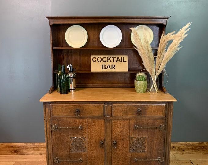 Antique Oak Dresser / Kitchen Dresser / Rustic Bookcase / Cocktail Cabinet