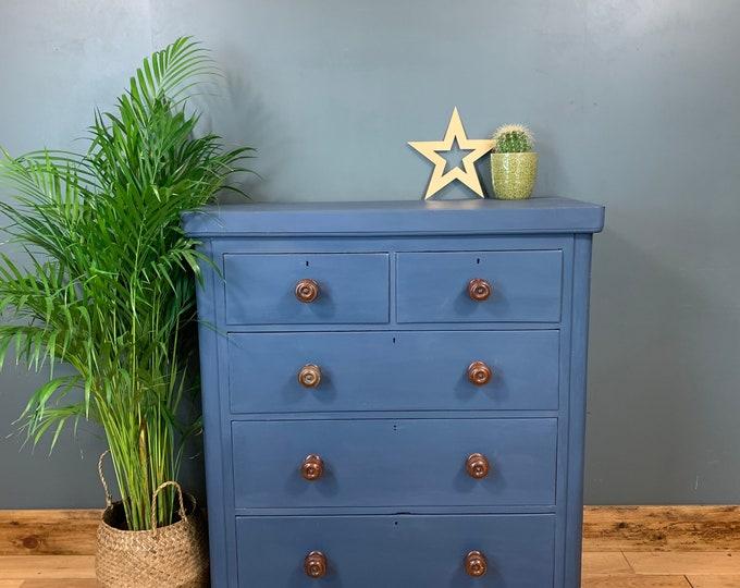 Vintage Chest Of Drawers Painted Dark Blue Antique Bedroom Dresser Mahogany