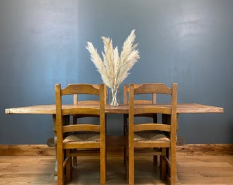 Antique Refectory Solid Oak Table / Farmhouse Kitchen Table And Four Chairs