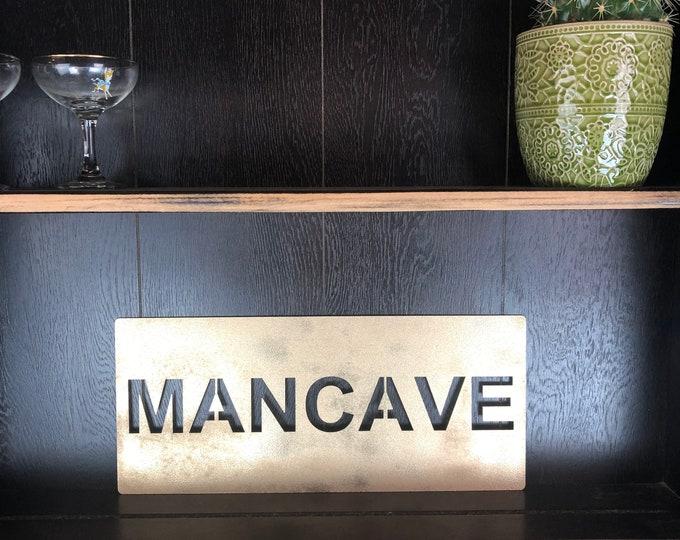 Gold MANCAVE Plaque Word Sign Metal Home Rustic Bar Rum Gin Hut shed workshop garage man cave
