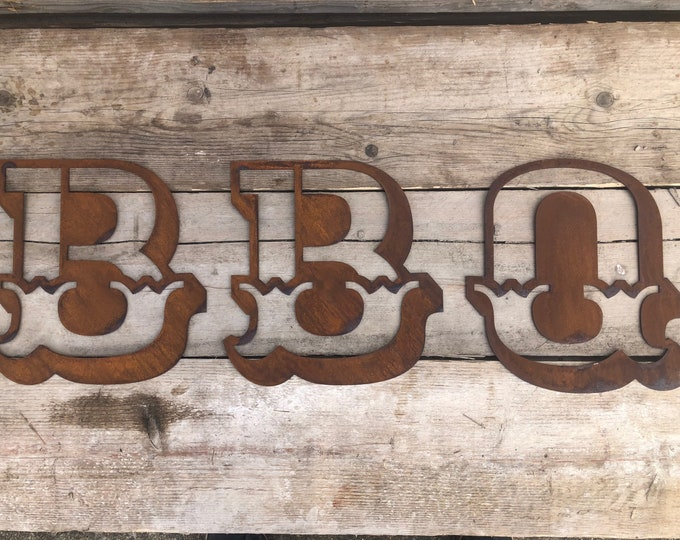 BBQ CARNIVAL LETTERS , bbq area sign , kitchen sign , eat sign , garden sign , cooking sign , fairground letters , rusty metal letters