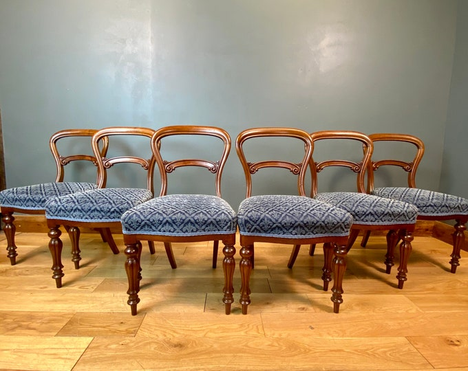 Set of 6 Antique Victorian Mahogany Dining Chairs / Balloon Back Crown