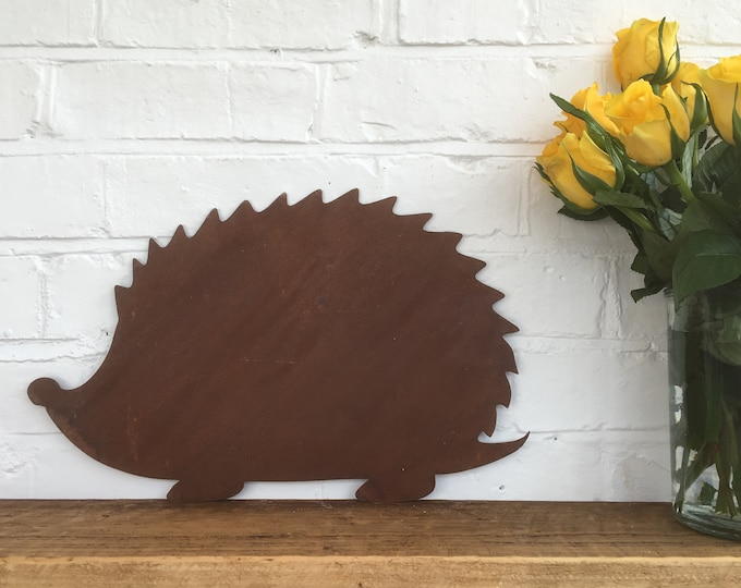 Rusty metal HEDGEHOG Sign , rusted Metal Garden Ornament , garden feature , rustic garden Decoration , inside or outside . novelty gift
