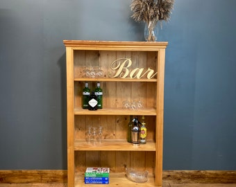 Vintage pine Bookcase / Rustic Shelving Unit / Drinks Cabinet /  Display unit