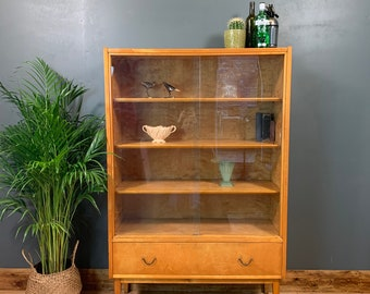 Retro Mid Century Birdseye Maple Bookcase Display Case Bookcase Cabinet Vintage
