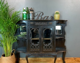 Antique Chiffonier Ebonised Black Sideboard Cocktail Cupboard China Cabinet