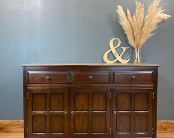 Vintage Oak Sideboard / Rustic Sideboard / Oak Cupboard /  Drawer Unit