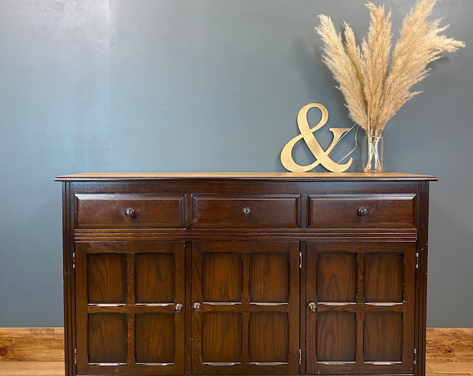 Vintage Oak Sideboard / Rustic Sideboard / Oak Cupboard /  Drawer Unit
