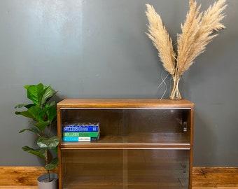 Retro Minty Oak Bookcase / Vintage Cupboard / Oak Shelving /Oak Glazed Bookshelf