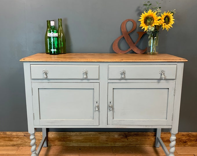 Vintage Painted Upcycled Shabby Chic Sideboard Cabinet Cupboard Drawers Grey