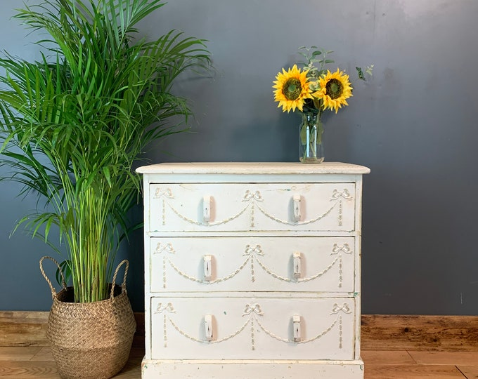 Vintage Chest Of Drawers / Sideboard Painted /Shabby Chic Drawers / Painted Off-White / Rustic Furniture /Vintage Furniture