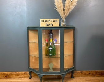 Vintage Glazed Cabinet / China Cabinet / Painted Cupboard / Cocktail Cabinet