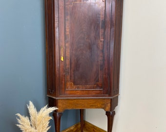 Antique Mahogany Corner Cupboard / Edwardian Cabinet / Drinks cabinet / Cocktail