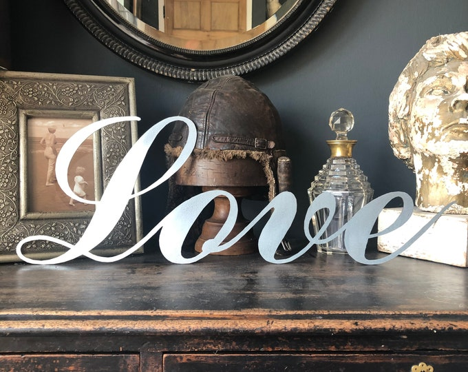 STEEL LOVE SIGN , cocktail bar decor , drinks cabinet sign , metal lettering , home sign , family sign , house sign