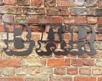 METAL BAR SIGN , bar letters, vintage bar decor , garden bar sign , home bar sign , bar accessories, rustic lettering ,