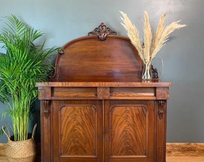 Antique Sideboard / Mahogany Chiffonier /  Flame Mahogany Cabinet / Antique Cupboard