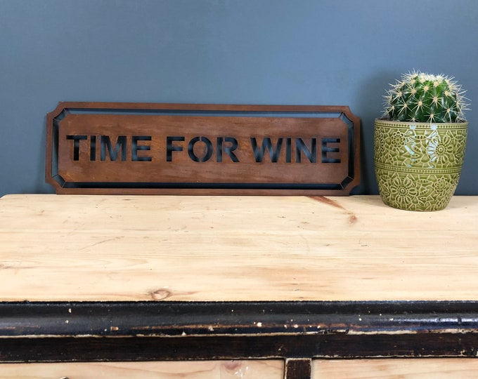 Rusted TIME FOR WINE Word Sign Metal Shop Home Rustic Pub Cafe Bar Cocktails Drinks
