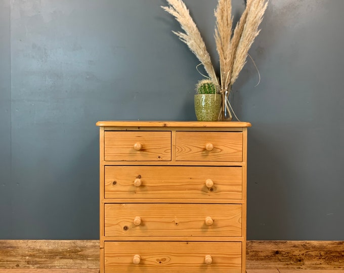 Pine Chest Of Drawers / Tall Drawers / Rustic Drawers / Bedroom Storage / G