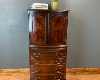 Vintage Wooden Cupboard Storage Bookcase Drinks China Cabinet Cocktail Drawers