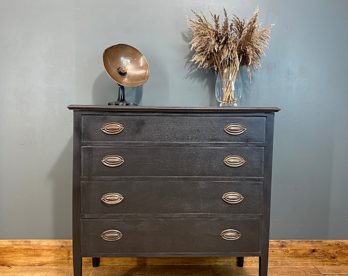 Vintage Chest Of Drawers / Shabby Chic/ Rustic Chest Of Drawers / Black