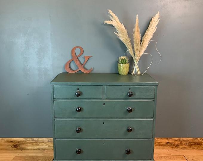 Antique Georgian Oak Chest Of Drawers Sideboard Sideboard Painted Bedroom Green