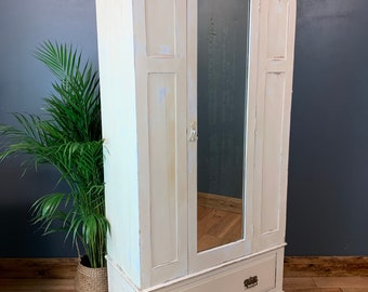 Vintage French Painted Cupboard Mirror Storage Shabby Chic Rustic Wardrobe